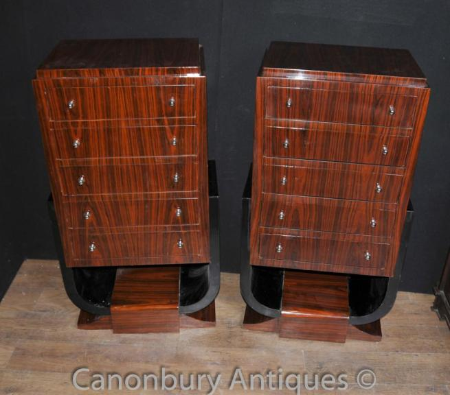 Pair Art Deco Tall Boys Chests of Drawers Rosewood