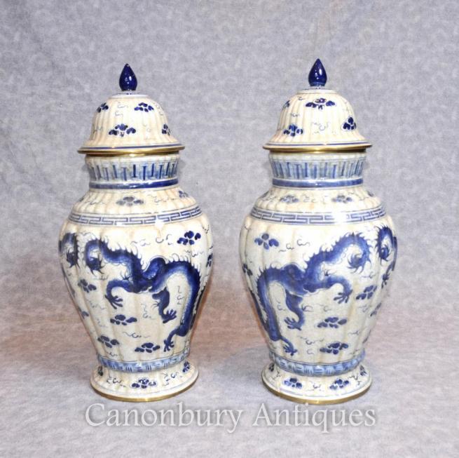 Pair Chinese Blue and White Porcelain Dragon Urns Vases Nanking