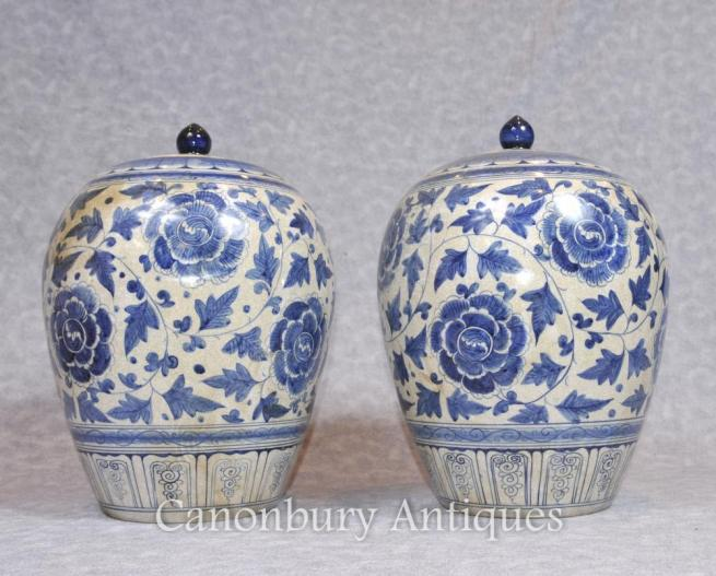 Pair Chinese Blue and White Porcelain Vases Urns Lidded Pots Ovoid
