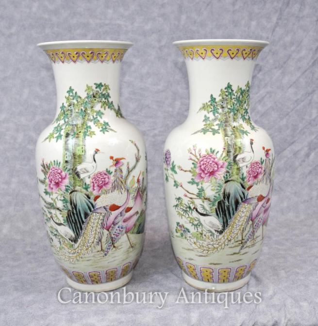 Pair Chinese Famill Verte Qing Urns Pheasant Bird Vases