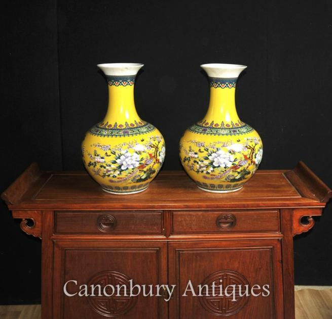 CLICK HERE TO BUY THIS PAIR CHINESE FAMILLE JAUNE PORCELAIN VASES SHANGPING FORM URNS ON CANONBURY ANTIQUES