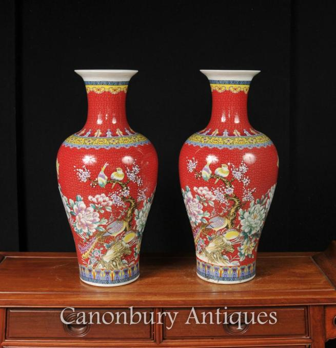 Pair Chinese Jiaqing Porcelain Bird Vases Imperial Red
