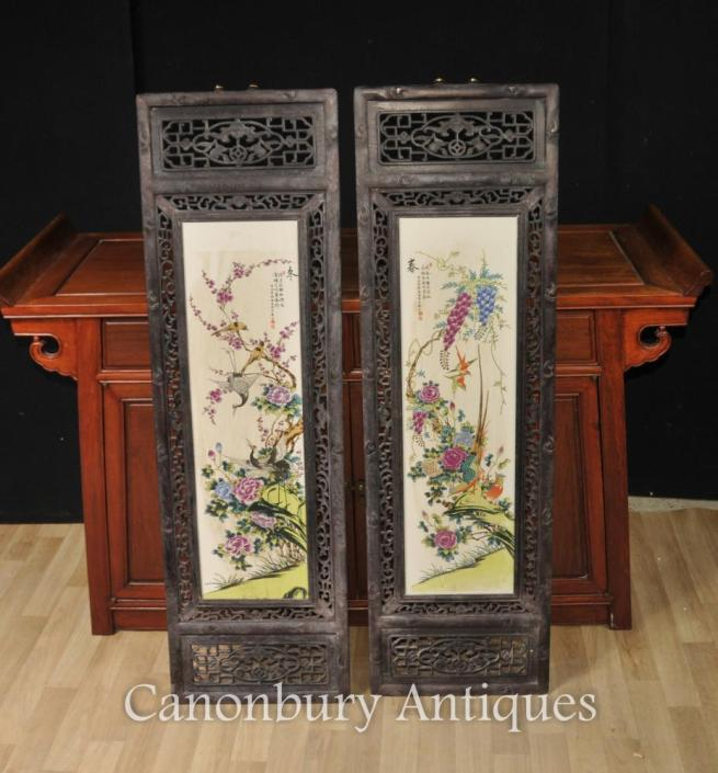 Pair Chinese Kangxi Porcelain Bird Plaques Paintings Screen