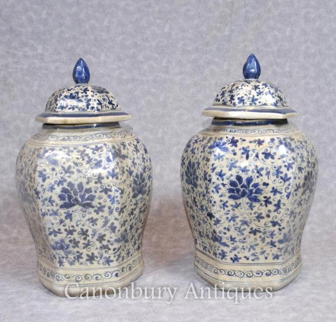 Pair Chinese Nanking Porcelain Ginger Temple Urns Jars Vases