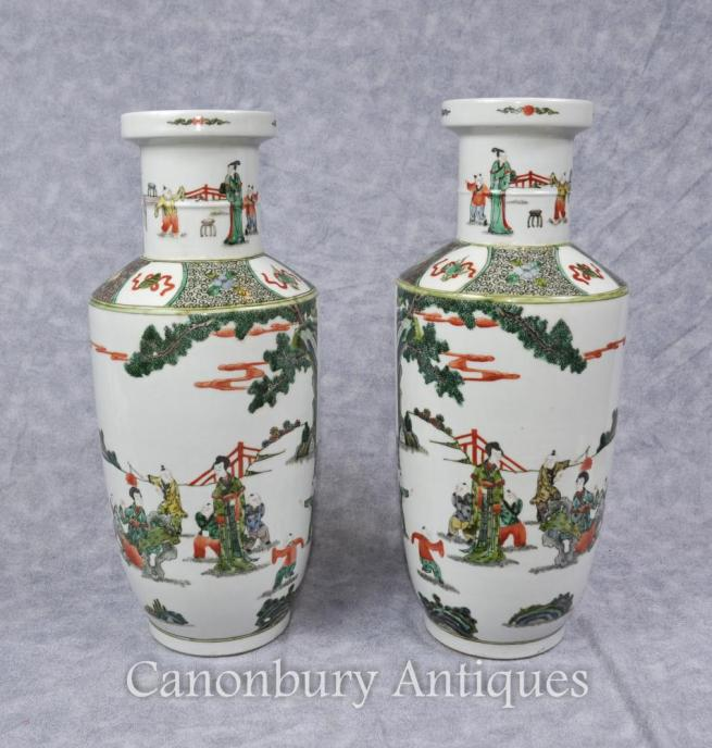 Pair Chinese Qing Famille Vert Porcelain Urns Painted Vases