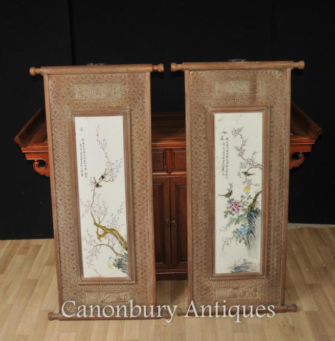 Pair Chinese Wucai Porcelain Bird Plaques Screens Paintings Hand Carved Frame