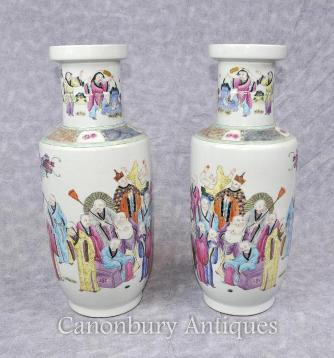 Pair Chinse Qing Tongzhi Porcelain Vases Urns Painted Figurines