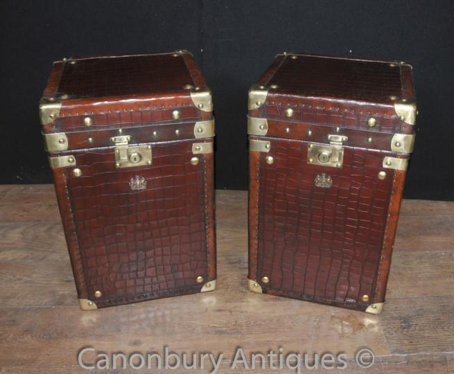 Pair English Leather Luggage Chest Steamer Trunk Tables Box Crocodile