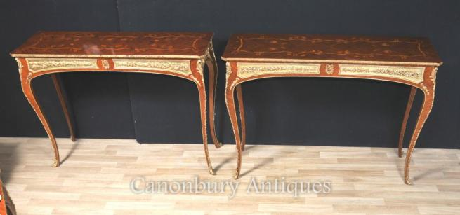 Pair French Console Tables Louis XVI Inlay Ormolu