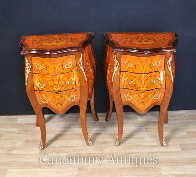 Pair French Empire Bombe Chests Drawers Bedside Tables Nightstand