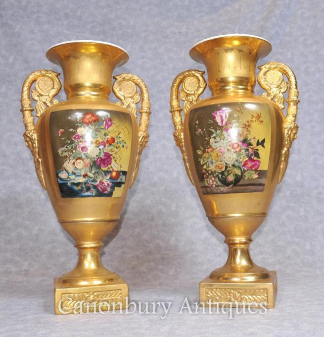 Pair Gold Dresden Porcelain Amphora Urns Vases Floral Sprays
