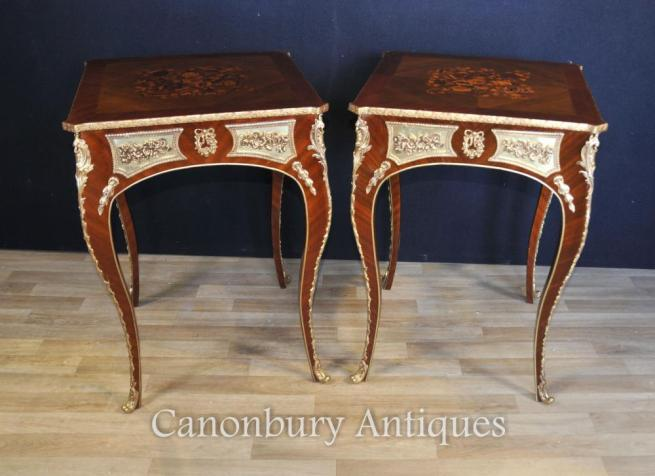 Pair Louis XVI Side Tables French Furniture Marquetry Inlay