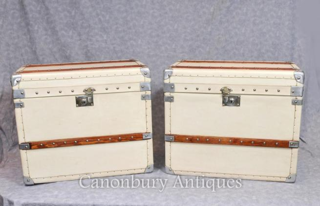 Pair Steamer Trunk English Leather Luggage Boxes Cases Tables