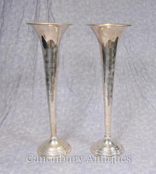 Pair Victorian Silver Plate Rose Vases Flutes