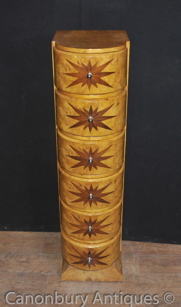 Single Art Deco Chest Drawers Tall Boy Star Inlay