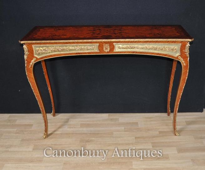 Single French Empire Console Table Marquetry Inlay Interiors