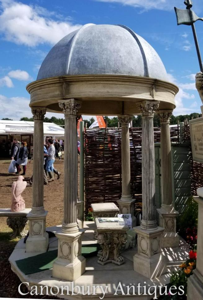 2.4m Stone Garden Temple Gazebo with Conical Dome