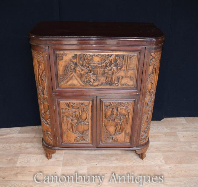 Antique Chinese Camphor Wood Drinks Cabinet Carved