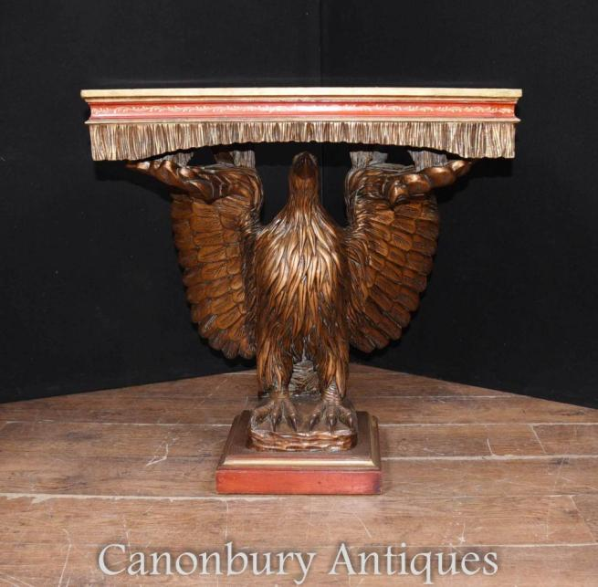 Antique Chinese Lacquer American Eagle Console Table Classical Chinoiserie