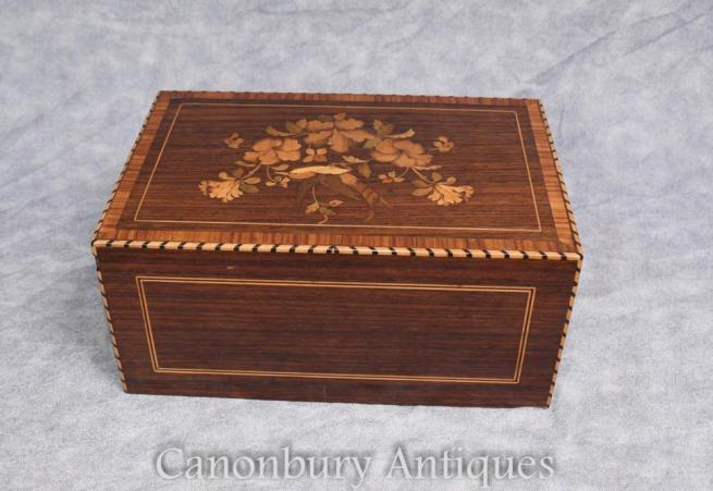 Antique Cigar Box 1930s Marquetry Inlay Trinket Jewellery Case