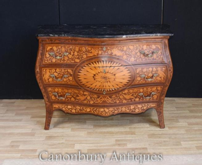 Antique Dutch Marquetry Bombe Commode Chest Drawers