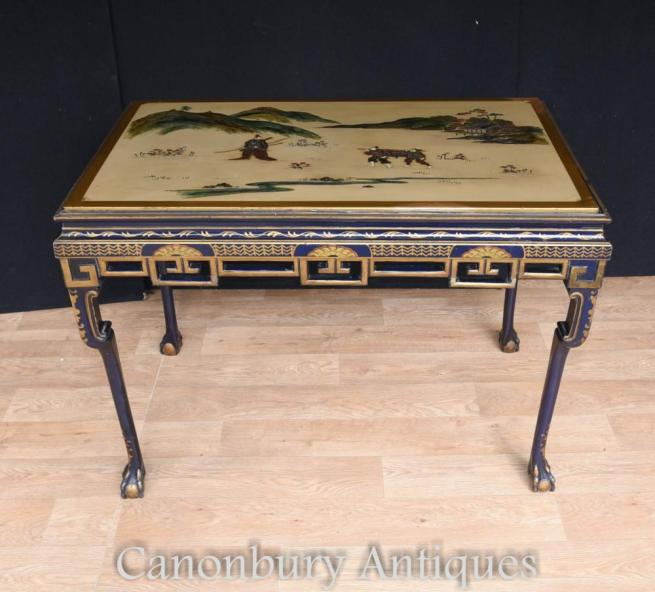 Antique Edwardian Lacquer Console Table by Hille and Co Japanese Manner 1910