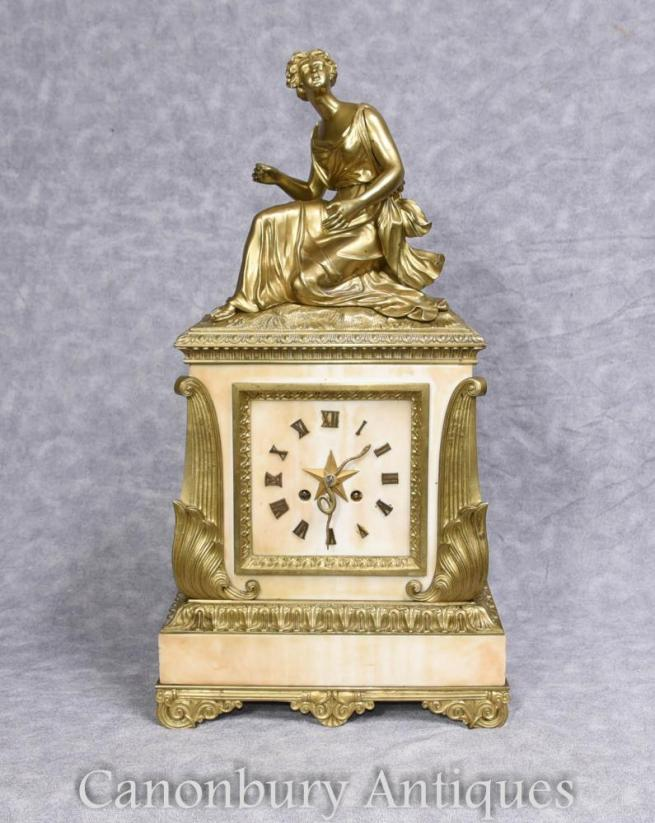 Antique French Art Deco Clock Marble Ormolu Figurine 1930