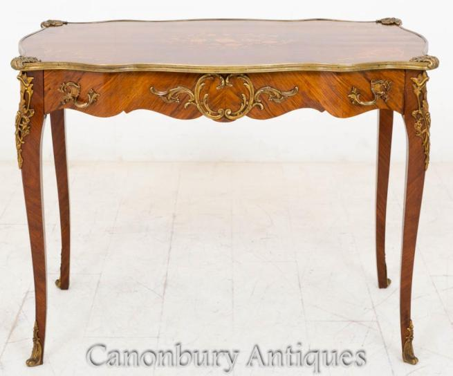 Antique French Empire Centre Side Table Kingwood Inlay