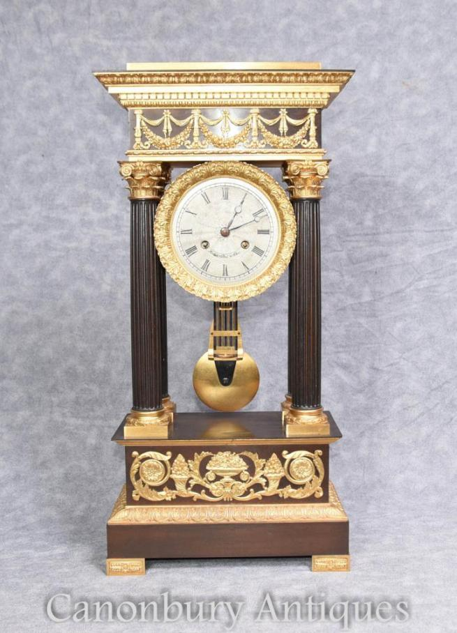 Antique French Empire Mantle Clock Ormolu by Honore Pons 1810