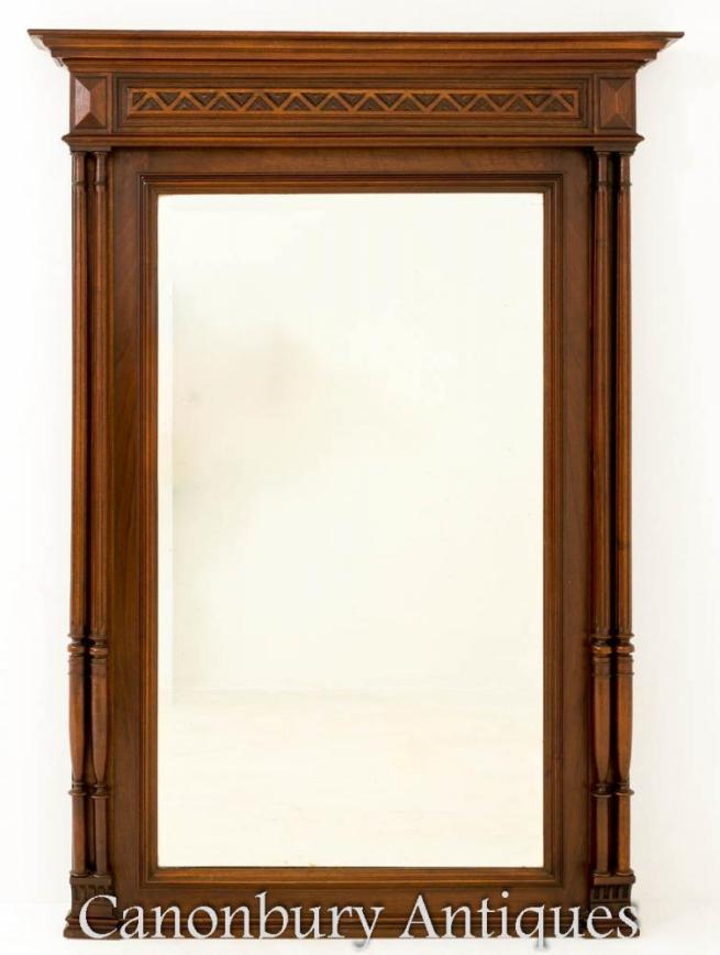 Antique French Oak Wall Pier Mirror