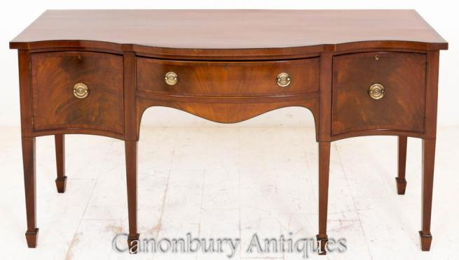 Antique Mahogany Serpentine Sideboard Buffet Server