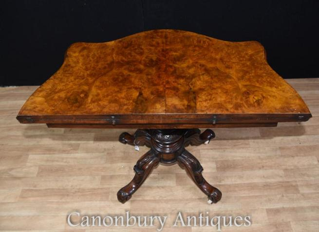 Antique Regency Walnut Card Side Table Games Tables
