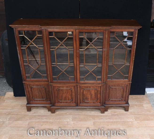 Antique Victoria Dwarf Breakfront Bookcase in Mahogany Glass Fronted Display