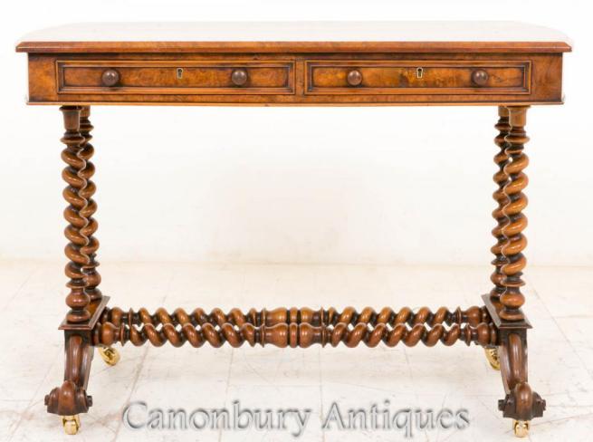 Antique Victorian Burr Walnut Side Console Table Barley Twist Legs