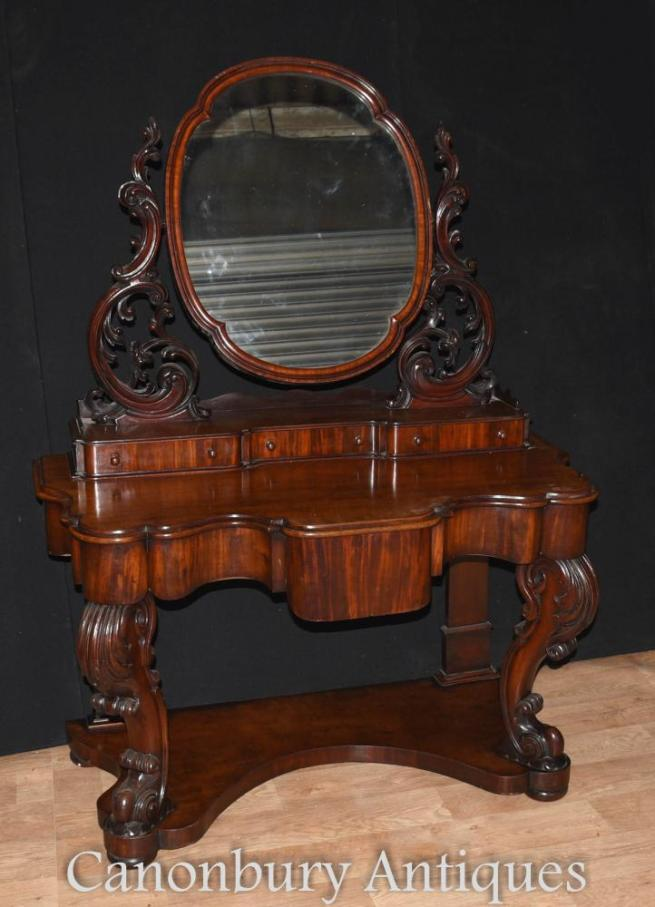 Antique Victorian Duchess Dressing Table Mirror Desk Set 1860