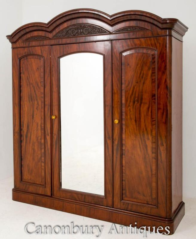 Antique Victorian Gentlemans Wardrobe Closet Cabinet 1860
