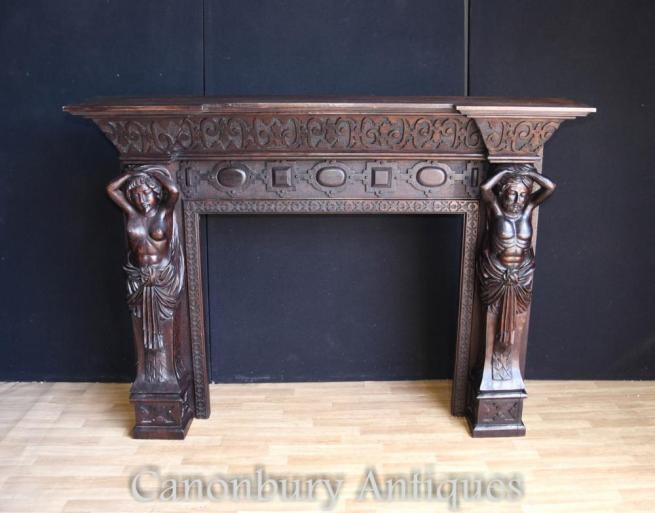 Antique Victorian Gothic Carved Fireplace Caryatids 1880