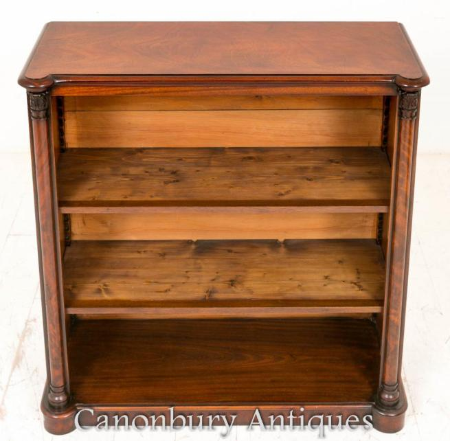 Antique Victorian Open Front Bookcase in Mahogany 1860