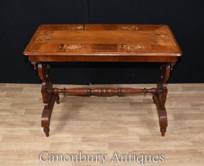 Antique Victorian Stretcher Side Table Marquetry Inlay