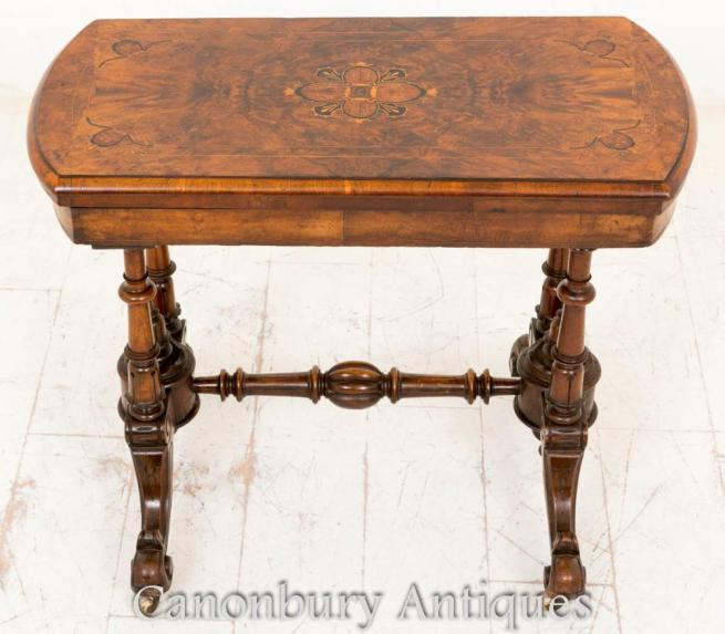 Antique Victorian Walnut Card Table Games Marquetry Inlay 1860