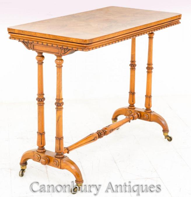 Antique William IV Walnut Stretcher Table Side Tables