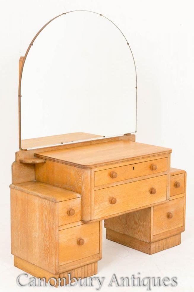 Art Deco Bleached Oak Dressing Table 1930