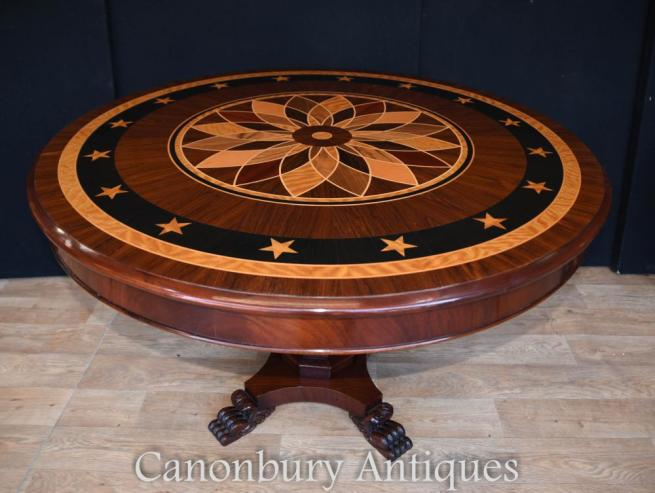 Art Deco Inlay Centre Table Round Dining Tables