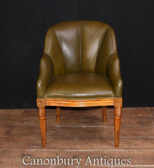 Art Deco Leather Arm Chair Desk Chairs