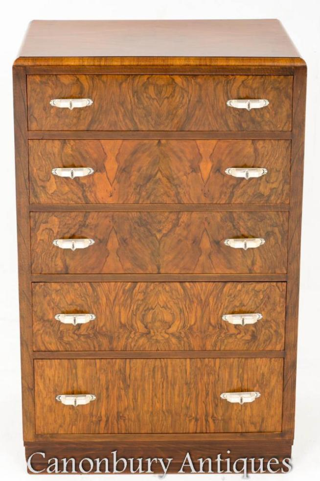 Art Deco Walnut Chest Drawers Cabinet