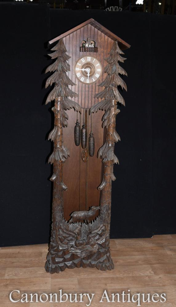 Black Forest Hand Carved Longcase Cuckoo Clock Bavarian