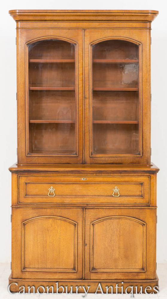 Blonde Oak Victorian Bookcase Display Cabinet 1860