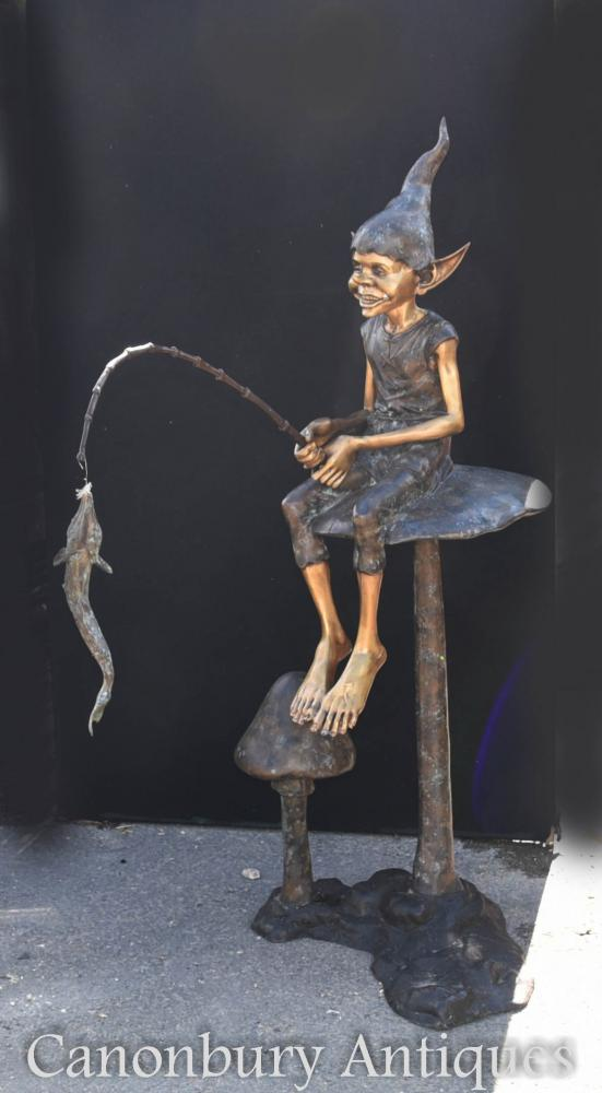 Bronze Pixie Toadstool Fishing Statue Pixies Fairey Elp