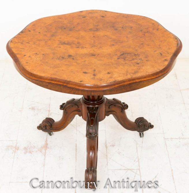 Burr Walnut Victorian Centre Table Dining 1860