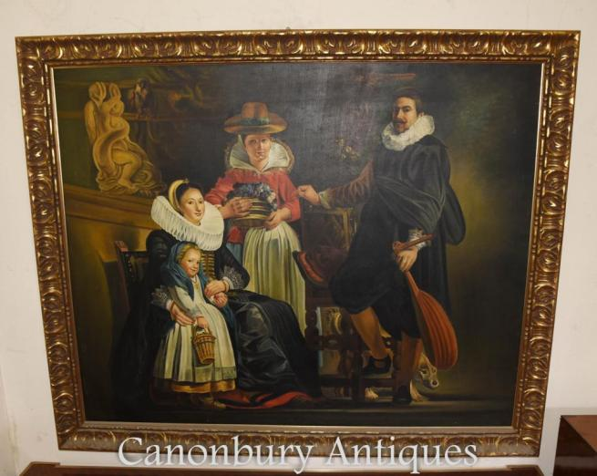 Dutch Oil Painting Family Portrait Gilt Frame